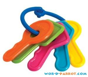 اسباب بازی طوطی دسته کلید رنگی پلاستیکی