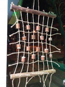 اسباب بازی پرندگان پرنده چوبی طناب کنفی مهره طبیعی آویز ریسمان