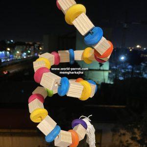 اسباب بازی مارپیچ پرندگان طوطی رنگارنگ چوبی اسپیرال
