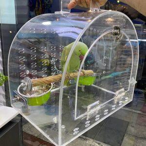 قفس حمل کیف حمل پرنده طوطی ساک حمل شیشه ای اکریلیکی باکس